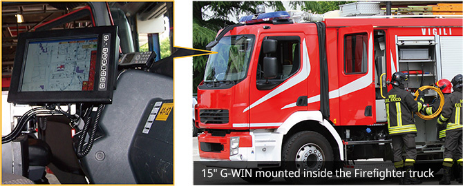 15-inch G-WIN Mounted inside the firefighter truck