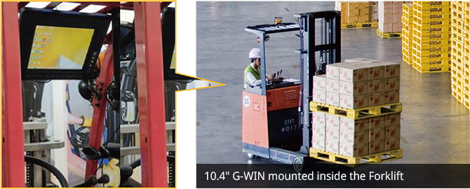10.4-inch G-WIN Mounted inside the forklift